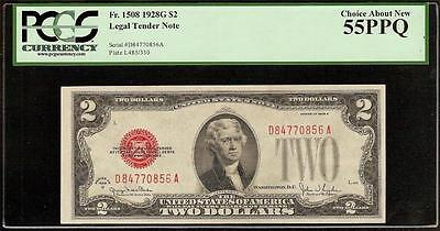 1928G $2 Two Dollar Bill United States Legal Tender Red Seal Note Pcgs 55 Ppq