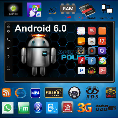 """2DIN Quad Core Android 6.0 3G WIFI 7"""" Double Car Radio Stereo MP5 Player GPS ED"""