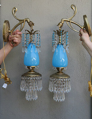 2 Sconce lamp Murano Turquoise Blue Opaline Glass Bronze Brass crystal Vintage