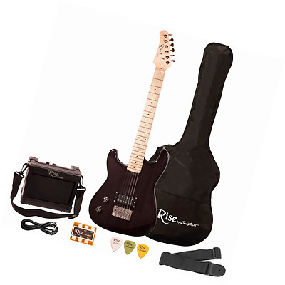 Rise by Sawtooth ST-RISE-ST-LH-BLK-KIT-1 Electric Guitar Pack, Left Handed, Blac
