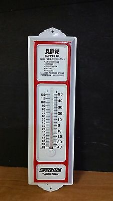 SPACEPAK APR White & Red Porcelain Metal Ad Thermometer PA Supply Sign~Works