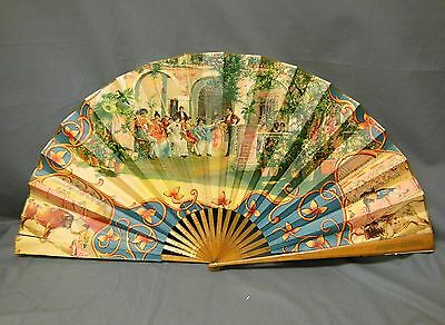 "Early 20th Century Spanish Bullfight Souvenir Fan ""The Espana"" Hand Painted"