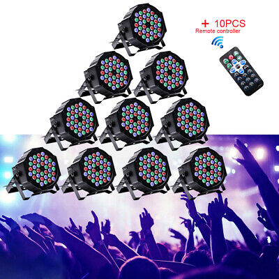 36 LEDs 10PCS Par Stage Light 80W RGB DMX512 Can Disco Party Wedding Uplighting