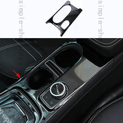 Black Steel Cup Holder Cover Frame Trim For Mercedes-Benz A Class W176 2013-2016