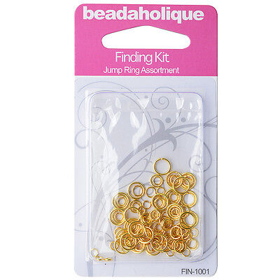 Gold Plated Findings Kit - Assorted Jump Rings 4-8mm 20-18 Gauge (125)