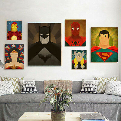 Batman Superman Wonder Woman Superheroes Canvas Poster Wall Art Print Room Decor