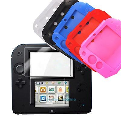 Soft Rubber Silicone Skin Case Cover + Clear Screen Protector for Nintendo 2DS