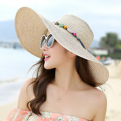 Women's Wide Brim Floppy Folding Hat Summer Beach Sun Straw Cap Hats Khaki USA