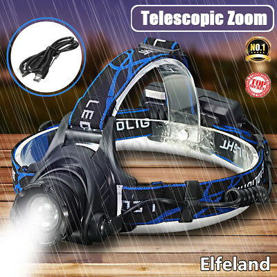 15000Lm Elfeland T6 LED Zoomable Rechargeable Headlamp Headlight USB Flashlight