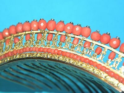 Superb Antique French Charles X Carved Red Coral Gilt Silver Ormolu Tiara Diadem