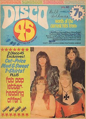 The Sweet on Disco 45 Magazine Cover 1974     Les Gray of Mud     Diana Ross