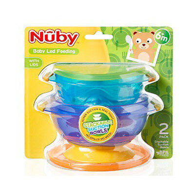 Nuby Stackable Suction Baby Non-Slip Food Seal Tight Toddler Feeding Bowls 2Pac