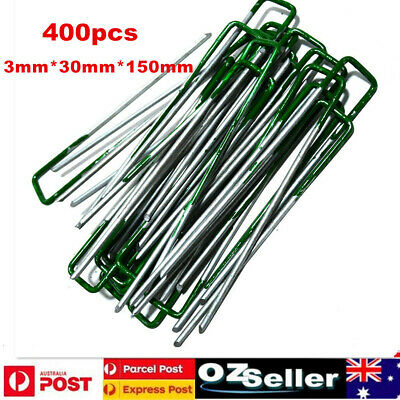 Synthetic Artificial Turf Fake Grass Lawn Weed Mat Pins Turf Pegs 100 Pack