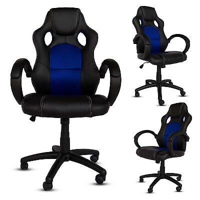 Gaming Racing Style Office Computer Chair PU Leather Swivel Chair High Back Blue