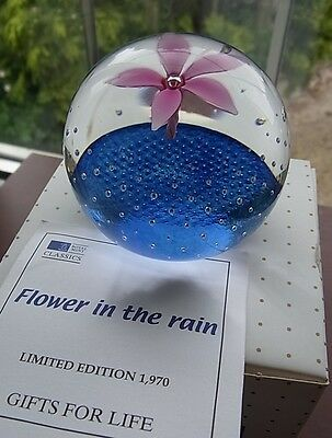 """Royal Mint / Caithness """"reflections"""" Paperweight """"flower In The Rain"""" Ltd"""