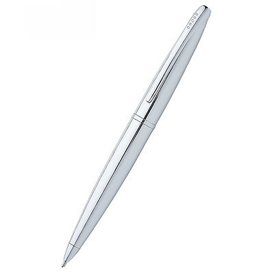 Cross ATX Pure Chrome Ballpoint Pen With Rounded Clip Chrome Trim & Black Ink