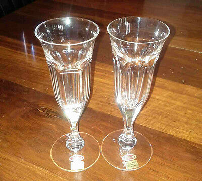 Pair of Moser Lady Hamilton Crystal Champagne Flutes / Glasses (Cromwell)