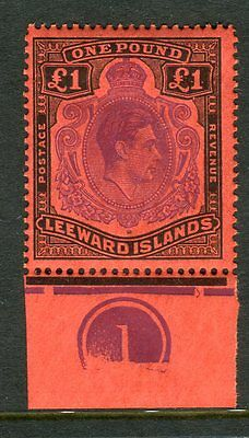 LEEWARD ISLANDS-1938-51 £1 Violet Black/Scarlet Perf 13 UMM Sg 114c