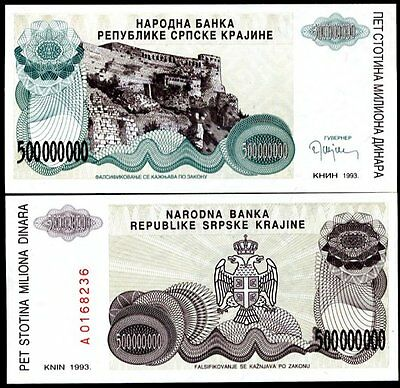 Croatia 500,000,0000 = 500 Million Dinara 1993 R26 Unc