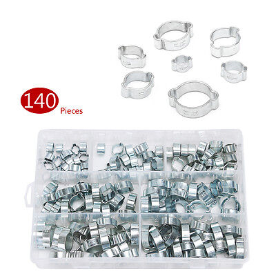 140PCS Assorted Double Ear O Clips Steel Zinc Plated Hydraulic Hose Fuel Clamps