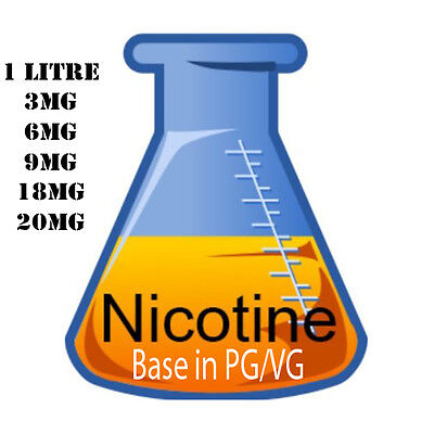 Nicotine Base - VG / PG various strength 3mg-20mg , 1 litre USP Grade
