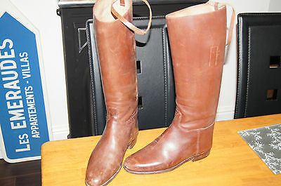 Vintage Brown Leather Equestrian Hunting Riding Boot Full Length