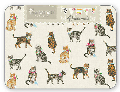 Cooksmart Set Of 4 Placemats Cats On Parade