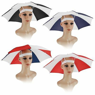 Umbrella Hat Cap Head Fishing Camping Hiking Sun Shade Brolly Foldable Outdoor