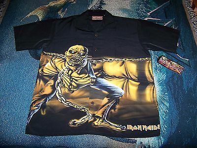 NEW WITH TAGS Iron Maiden PIECE OF MIND Dragonfly Button Dress Bowling Shirt M
