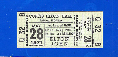 Original 1971 Elton John unused concert ticket Tampa FL Tumbleweed Connection