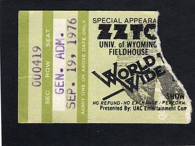 1976 ZZ Top Concert Ticket Stub Laramie Wyoming World Wide Texas Tour Tejas