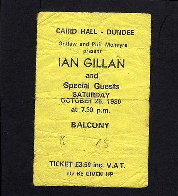 1980 Ian Gillan from Deep Purple Concert Ticket Stub Dundee UK Glory Road