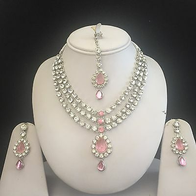 Pink Silver Kundan Indian Costume Jewellery Necklace Earrings Crystal Set New