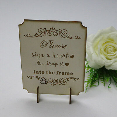Personalized Engraved Sign for Wooden Wedding Heart Drop Box Guest Book,stand