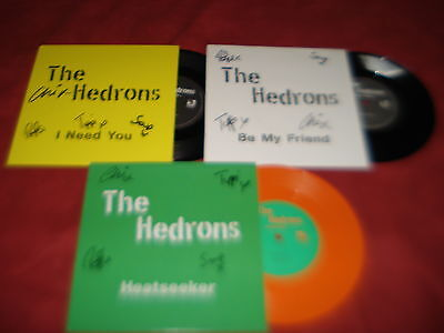 """THE HEDRONS X3 7"""" Need you Friend & Heatseeker  INDIE **SIGNED**"""