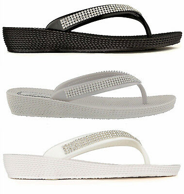 ELLA S1 Diamante Ladies Flip Flops Toe-post Sandals in Black White Sliver