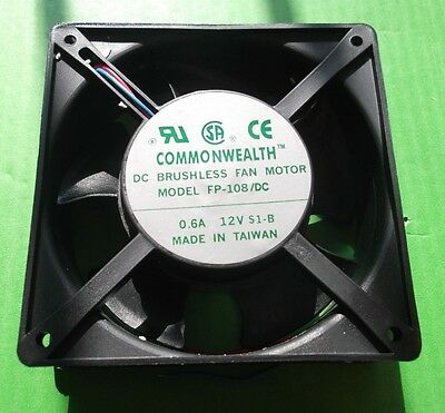 Fan 12 VOLT Cooling 120mm Fans 12Vdc All Plastic DC12VS1B Wire 120x120x38mm Ball