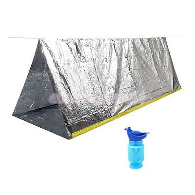 Portable Shelter Tarp + Urinal for Outdoor Camping Travel Emergency Survival
