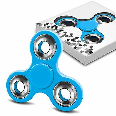 Fidget Finger Hand Spinner Steel Relieve Stress Spin Toy All Colors -Red Blue +
