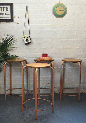 1x Vintage Mid Century French Ply + Metal School Stool Lab Chair (QTY avail)
