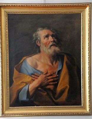 1600y. OIL PAINTING St. PETER CANVAS ARTIST GUIDO RENI // ITALY // RUSSIAN STYLE