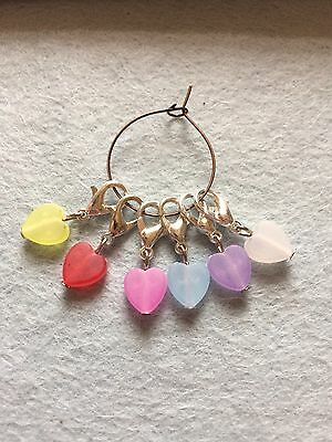 Six Frosted Heart ❤️ Stitch Markers / Charms For Crochet Knitting