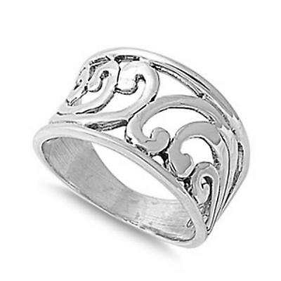 WIDE Swirls Band ~ Genuine 925 Solid STERLING SILVER Ring ~ Size 9 / S
