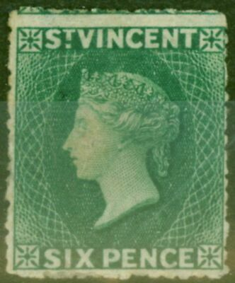 St Vincent 1873 6d Dull Blue-Green SG19 Mtd Mint Scarce