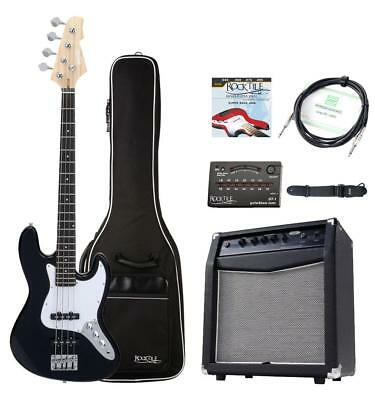 Electric Bass Guitar Amplifier Gigbag Tuner Cable Strap Starter Pack Set Black