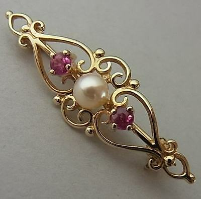 Pretty Vintage 9Ct Gold, Cultured Pearl & Ruby Brooch