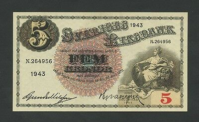 SWEDEN - 5 kronor  1943  P33z  Uncirculated  ( Banknotes )