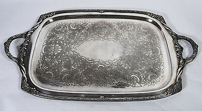 Vintage Rogers Bros Heritage Silver Plated Rectangular Handled Serving Tray