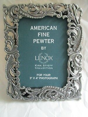 """Lenox / Kirk Stieff ~ American Fine Pewter 3"""" X 4"""" Photo Frame ~ Mint Condition"""