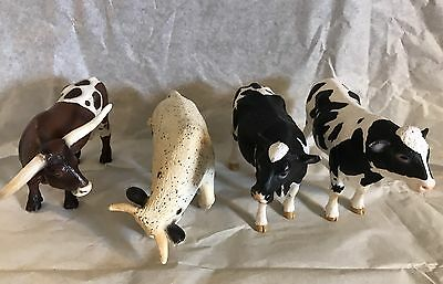 "Schleich Lot of 4 Cow Bull Farm Animals Figures 3"" x 5.5""."